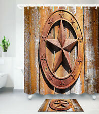 Ruatic Paint Off Wood Panel Texas Star Shower Curtain Waterproof Fabric Curtains