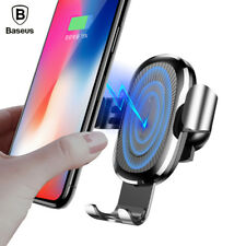 Qi Quick Charge Fast Wireless Charger Car Holder Mount Baseus For iPhone X Plus