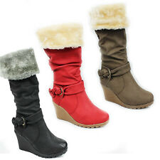 WOMENS WINTER KNEE HIGH FUR LINED HIGH WEDGE HEEL BOOTS LADIES SHOES SIZE 3-8