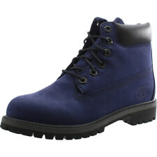 Timberland 6 Inch Premium Waterproof Dark Blue Nubuck Youth Ankle Boots