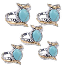 For lady Oval Turquoise Gold Silver Plated Feather Ring Jewelry Gift Size 6-10