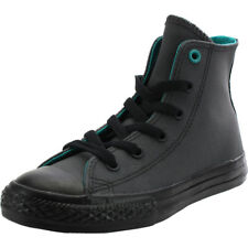 Converse Chuck Taylor All Star Hi Almost Black Leather Youth Trainers
