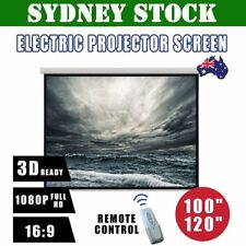 """100"""" 120"""" Inch Projector Screen Portable Electric Motorised TV Projection 3D MN"""