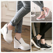Womens Hidden Wedge Heels Platform Ankle Boots Slip On Fashion Creepers Shoes Sz