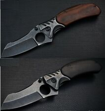 Folding Knife Stainless Steel Handle Wood Black Durable Tactical Limited