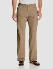 Lee Mens Pants Weekend Chino Straight Fit Flat Front Dark Khaki size 34x29 NEW