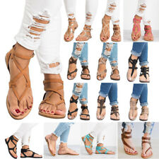 Roman Womens Flat Flip Flops Sandals Summer Strap Open Toe Thong Shoes New Size
