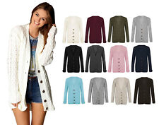 Women Ladies Long Sleeve Sweater Button Top Chunky Aran Knitted Granded Cardigan