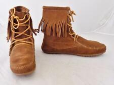 Womens Minnetonka Tramper Boots Size 7 Brown Lace Up with Fringe