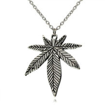 NEW Maple Leaf Pendant Leaves Charm Black Necklace Silver Chain Jewelry Gift