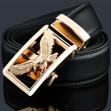 Mens Fashion Genuine Leather Belt Men Belt Gold Automatic Buckle Luxury Black
