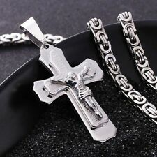 """22"""" Mens Silver Tone Stainless Steel Byzantine Chain Jesus Cross Bible Necklace"""