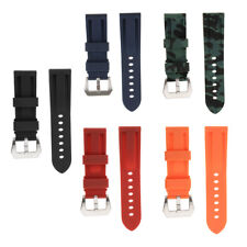 Silicone Rubber Waterproof Watch Strap for 24mm Sport Watch Band Replacement