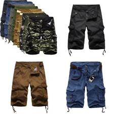 Casual Men,s Army Camouflage Pants Loose Work Cargo Polyester Cotton Shorts New