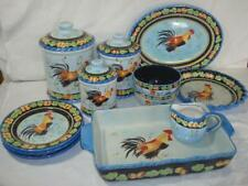 MESA~Ceramic~Rooster~Casserole~Canisters~Bowls~Plates~Creamer~Platter~Pie Plate