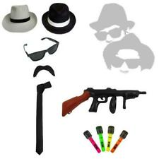 1920's Inflatable Gun Mens Fancy Dress Blues Brothers Hat Tie Braces Gangster