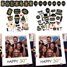 Birthday Party Photo Props 30/40/50th  Cards Paper Booth Funny Props Photo Frame