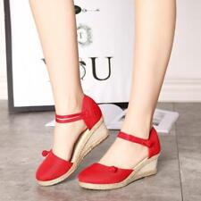 New Women Ethnic Wedge Mid Heel Sandals Ankle Strap Espadrille Closed Toe Shoes_