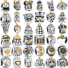 European 925 sterling gold silver charms bead for bracelet necklace chain BK010