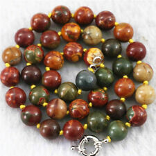 """NATURAL 6-14MM PICASSO JASPER GEMSTONE ROUND LOOSE BEADS Necklace 18"""" gift"""
