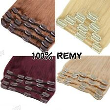 100% Natural Remy Clip in Hair Extensions 8 Pieces Full Head Real Human Hair