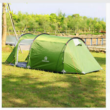 Tent Camping Waterproof Outdoor Beach Tents 3-4 Person Double Layer Tunnel Green