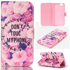 Pink Roses PU Leather Wallet Case Folio Flip Cover Card Slot Stand for Phones