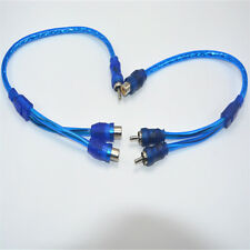 RCA 1 Female To 2 Male Splitter Stereo Audio Y Adapter Cable Wire Connector Blue