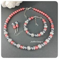Handmade Coral Gray Necklace Pearl Jewelry Bridesmaid Wedding Bridal Jewelry