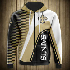NEW ORLEANS SAINTS Hoodie Zip Up Hooded Pullover S-5XL Football Team Fans NEW