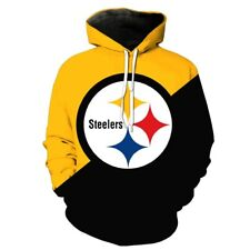 PITTSBURGH STEELERS Zipper Hoodie Hooded Pullover Size S-5XL Football Team Fans
