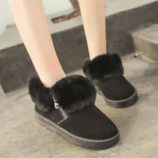 Womens Fur Lined Ankle Boots Zip Suede Warm Snow Shoes Winter Casual Non-slip