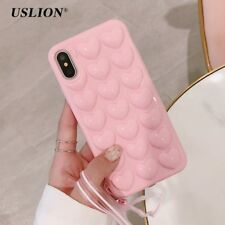 USLION 3D Love Heart Phone Case For iPhone X Cartoon Cases For iPhone 7 8 6 6S