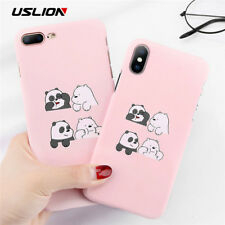 USLION Funny Cartoon Panda Phone Case For iPhone 7 Plus Love Heart Cases For