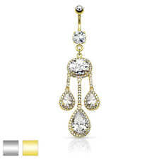 Dangle Belly Ring 3 Pear CZ Centered Paved CZ Drop w/ Large Oval CZ Chandelier