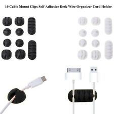 10Pcs Durable Cable Mount Clips Self-Adhesive Desk Wire Organizer Cord Holder DG