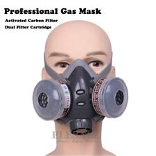 Half Face Gas Mask Dual Filter Cartridge Work Safety Gas Chemical Respirator