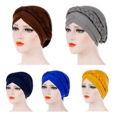Women Muslim Dichroic Braid Head Turban Wrap Cover​ Chemo Cap Cancer Hat Ladies