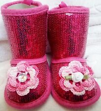 NEW HOT PINK SEQUIN FAUX SUEDE BOOTS SLIPPERS GIRLS BABY INFANT 3 6 9 12 MONTHS