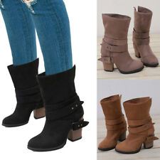 US Womens Cowboy Pull Up Mid Calf Boots Buckle Med Block Heel Boots Shoes Size