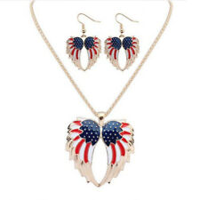 Resin Drip  Bohemia Stars and Stripes Hot Earrings Necklace Wings Jewelry Sets