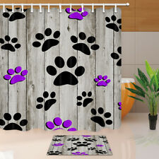 Colored Dog Paws Printed on Wooden Wall Bathroom Fabric Shower Curtain & Hooks