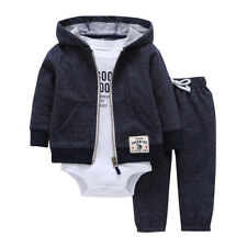 BABY BOY GIRL CLOTHES SET cotton long sleeve hooded jacket+pant+rompers new