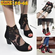 Woman Ladies Mesh Lace Sandals Block Heels Shallow Nightclub Fish Mouth Shoes #@