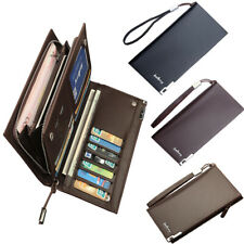 Men's Checkbook Long Clutch Billfold Leather Wallet Bifold ID Card Holder Purse