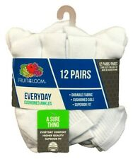 Fruit Of The Loom Everyday Cushioned Ankles 12 Pairs Men's White Socks SZ. 6-12