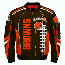 CLEVELAND BROWNS Men's Bomber Jacket Zip Up Jackets Football Team Fans NEW