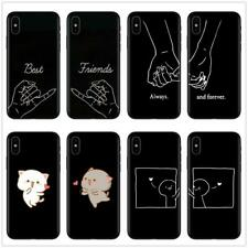 Girls Bff Best Friends Forever Black Soft Phone Cases Cover For iPhone 7 6 6S 8