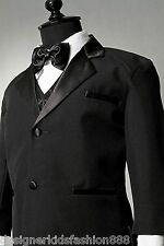 BOY TUXEDO BLACK SUIT  BRAND NEW W/ VEST ( ALL SIZE )