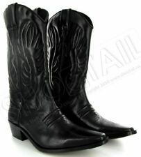MENS CALF LENGTH LEATHER COWBOY BOOTS BLACK Size 6-11
